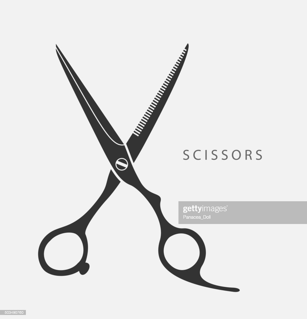 flat scissors vector black