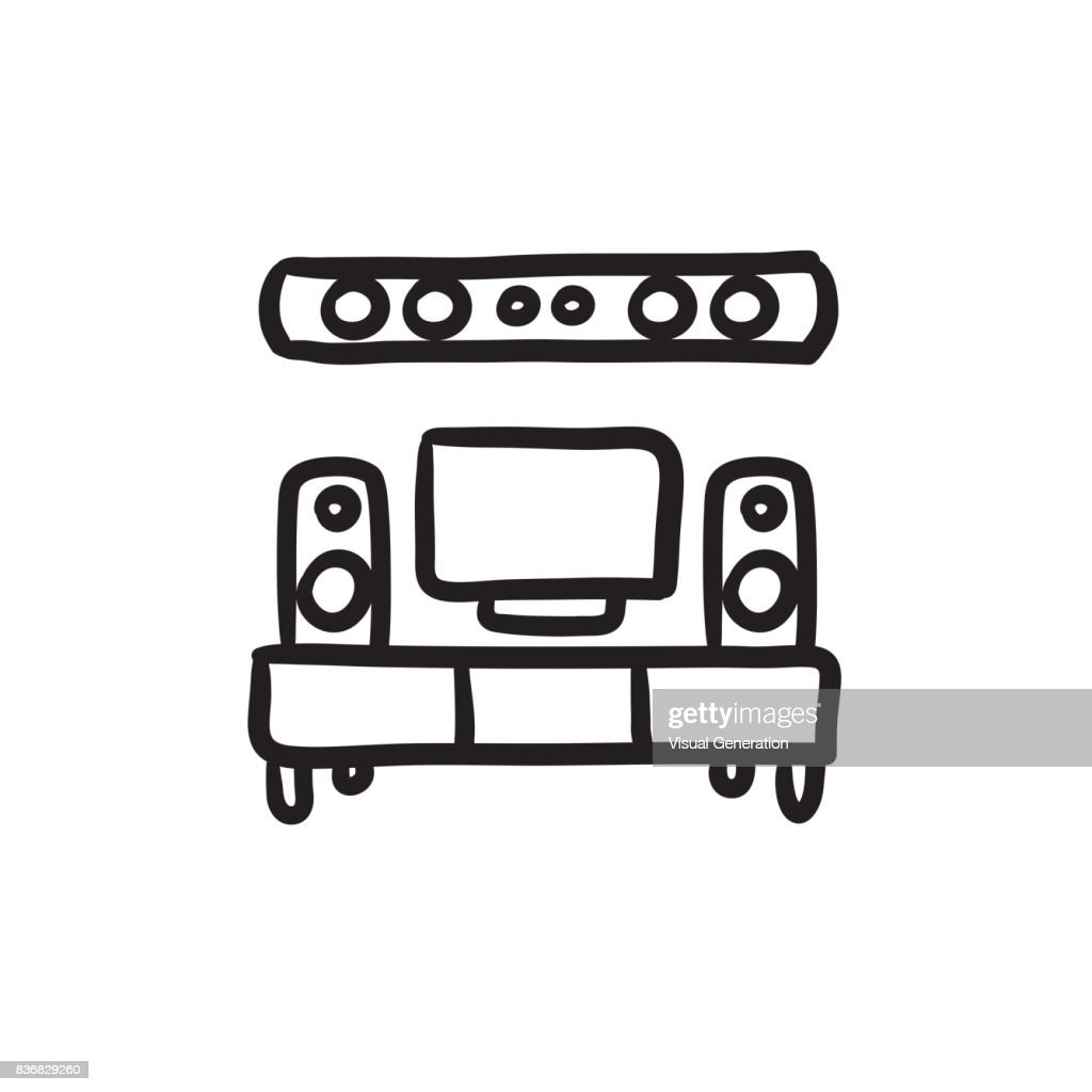 TV flat screen and home theater sketch icon