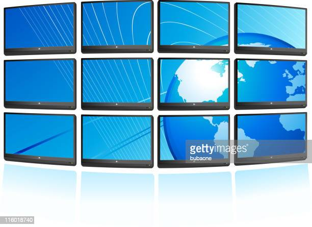 Flat screen displays with globe Background