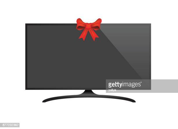 Flat Screen TV Black Screen With Ribbon In The Middle