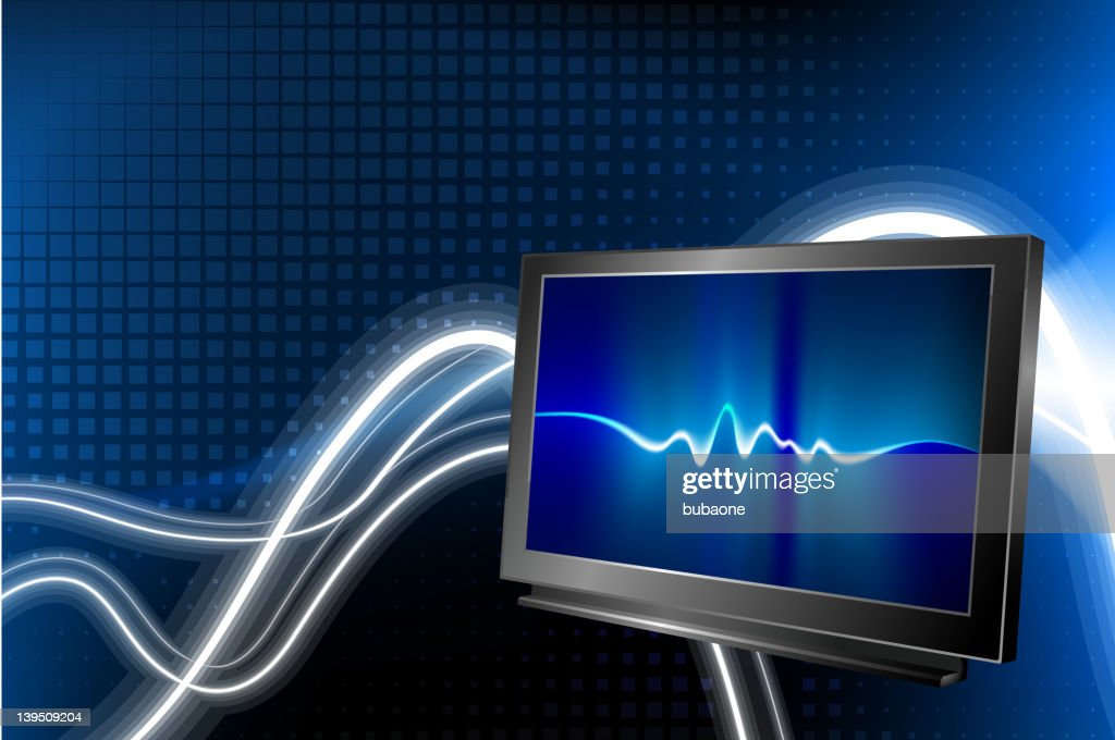 flat screen tv on abstract Background