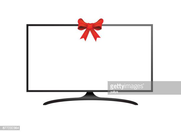 Flat Screen TV White Screen With Ribbon In The Middle