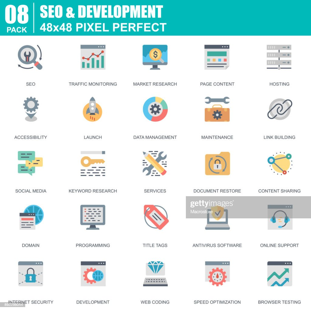 Flat seo and development icons set for website
