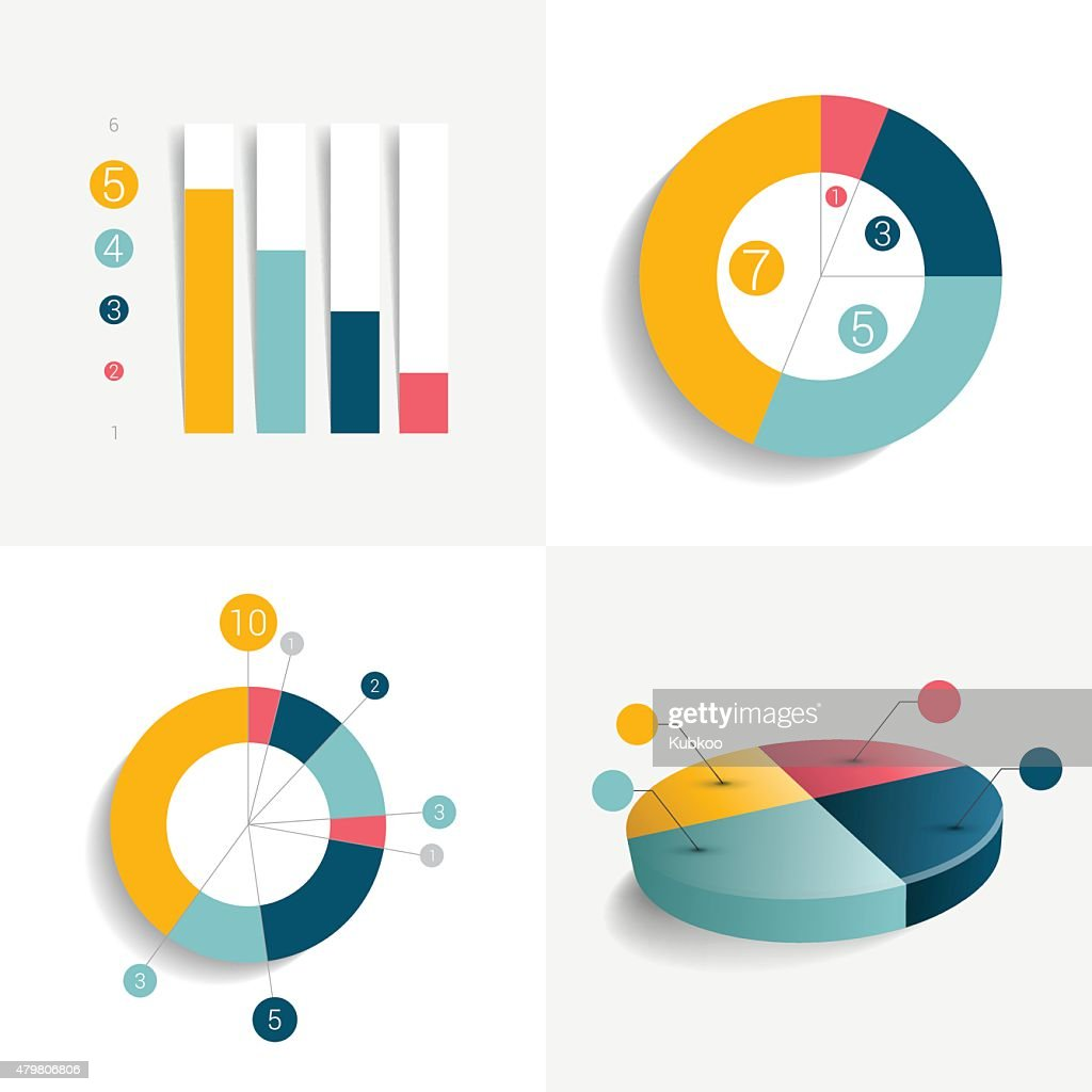 Flat set of charts and brochure elements. Simply color editable.