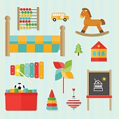 flat set of children toys and furniture. vector illustration