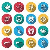 flat shadow peace and love icons set