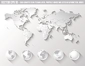 Flat Shadow World map with globes