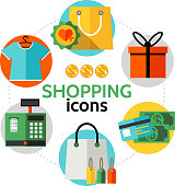 Flat Shopping Icons Round Concept
