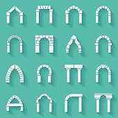 Flat silhouette icons vector collection of arch