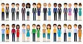 Flat silhouettes business people. Vector illustration.