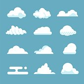 Flat sky cloud. Blue fluffy cartoon shapes white atmosphere cloudy elements vintage abstract overcast. Vector clouds