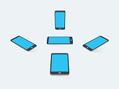 3D flat smart phones with blank screens and transparent shadows