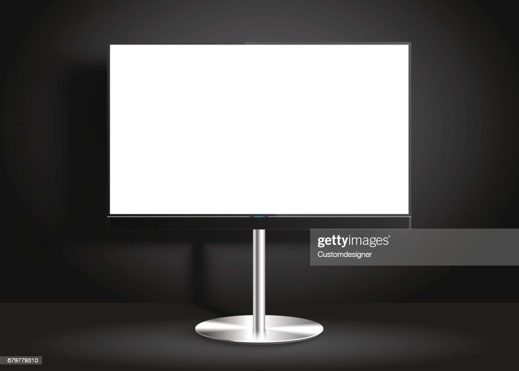 Flat Smart TV with blank screen on the Floor Stand, room, vector Mockup