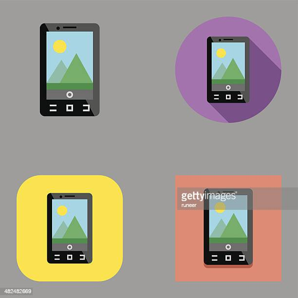 flat smartphone camera icons | kalaful series - desk toy stock illustrations, clip art, cartoons, & icons