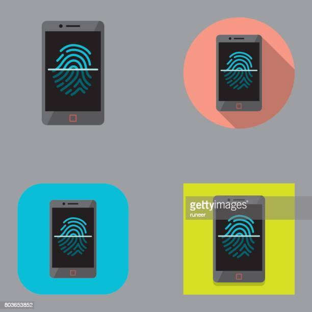 Flat Smartphone Fingerprint Scan icons | Kalaful series