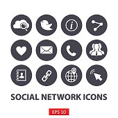 Flat Social network icons set