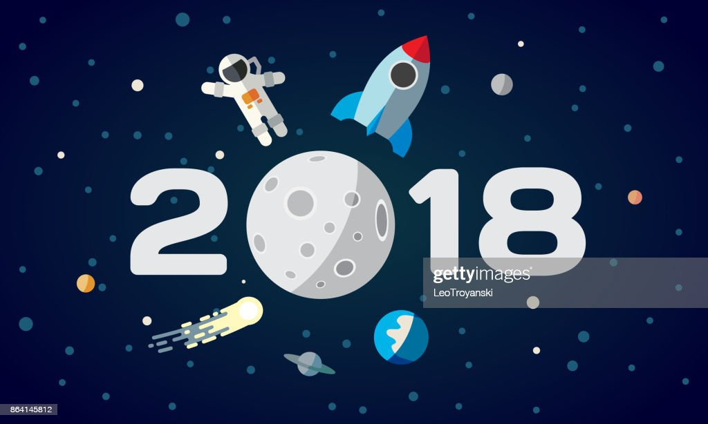 Flat space theme illustration for calendar. The astronaut and rocket on the moon background. 2018 Happy New Year cover, poster, flyer.