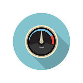 Flat speed gauge icon. Speedometer icon. Vector illustration
