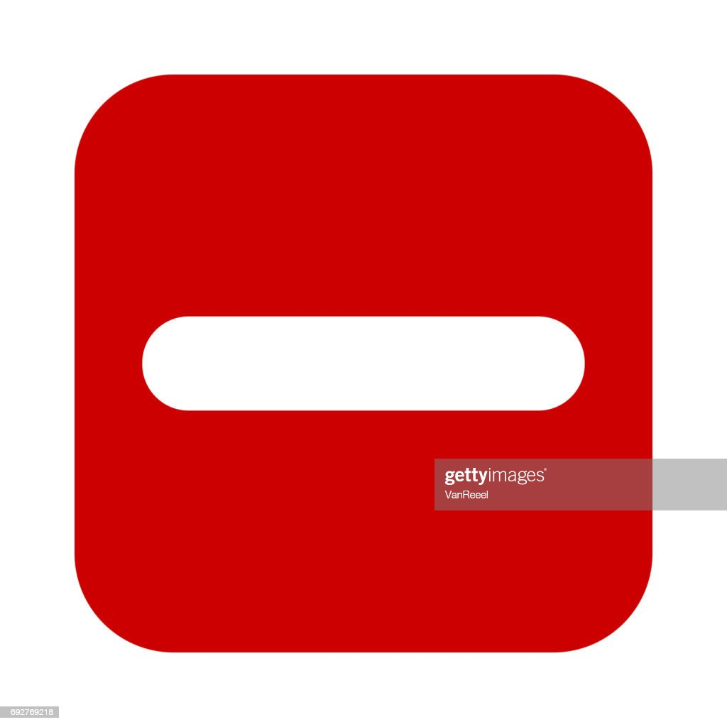 Flat square minus sign red icon, button. Negative symbol.