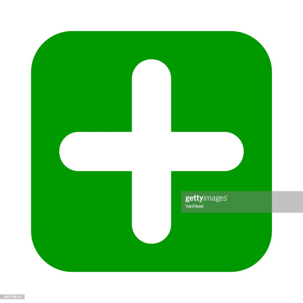 Flat square plus sign green icon, button. Positive symbol.