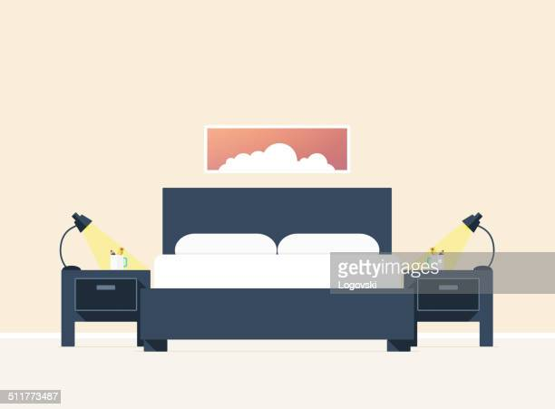 flat style baedroom - bedroom stock illustrations, clip art, cartoons, & icons