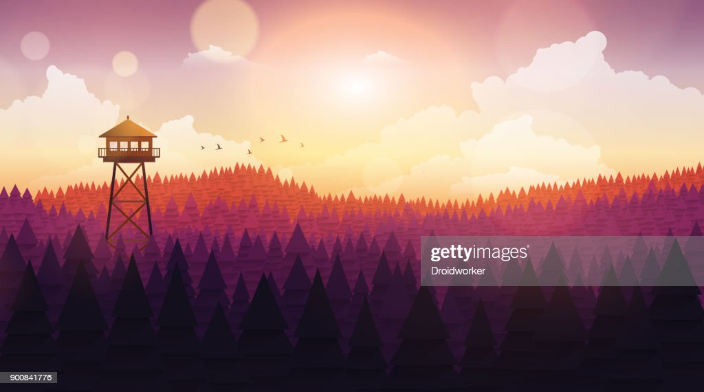 Flat Style Beautiful Landscape, Natural Parkland Illustration, with Wooden ViewPoint Building, Fire Lookout Tower.