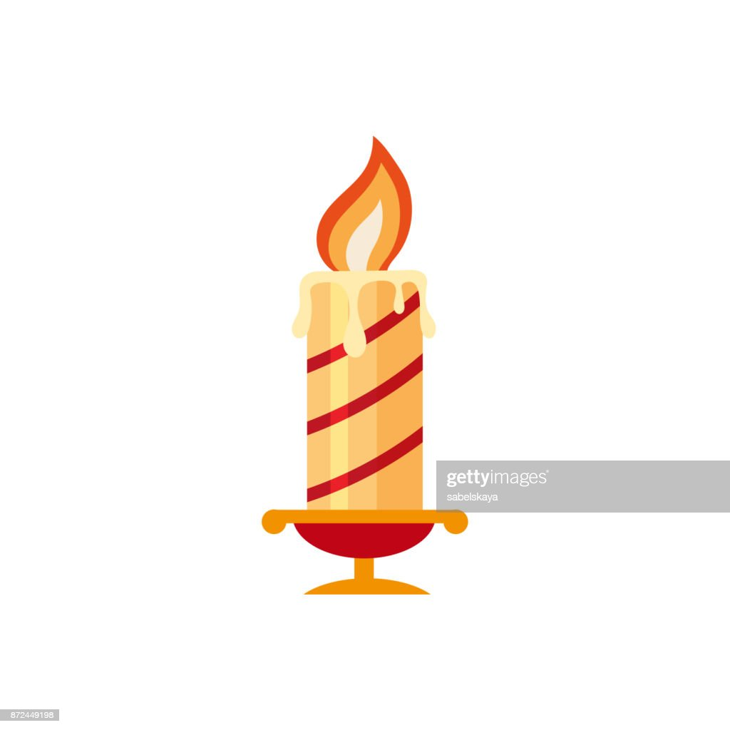 Flat style burning candle, Christmas icon
