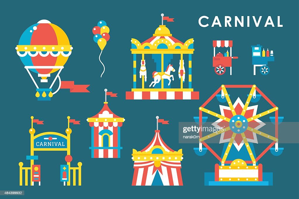 Flat style carnival infographic elements
