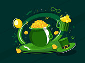 Flat style Cauldron with gold coins, beer mug and leprechaun hat illustration on green background for St Patrick's Day festival concept.
