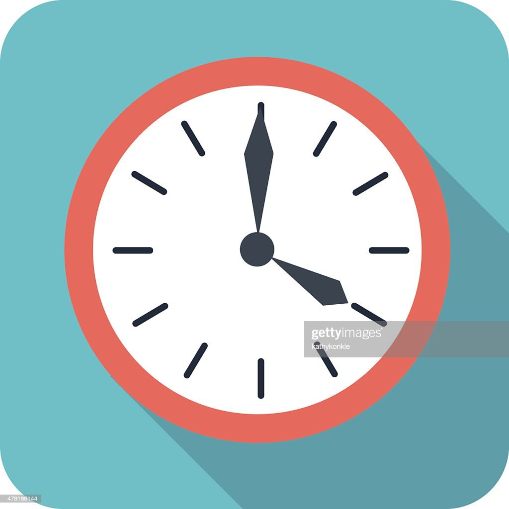 flat style clock icon in color