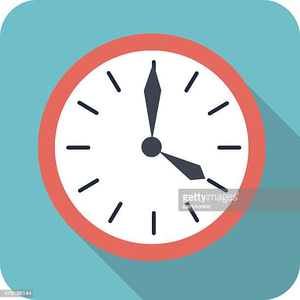 stockillustraties, clipart, cartoons en iconen met flat style clock icon in color - klok