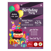 flat style colorful birthday party poster cake tart decoration party hat