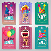 flat style colorful birthday tag set party hat balloon tart