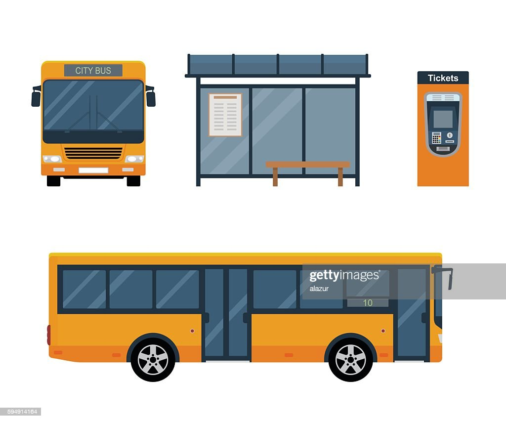 Flat style concept of public transport.