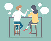Flat style couple talking to each other on bar stools illustration