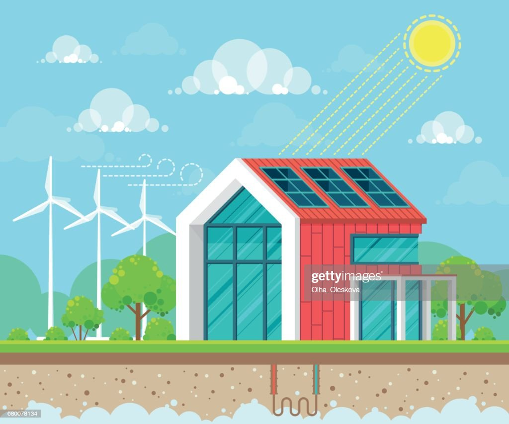 Flat style design vector illustration of landscape on ecology theme. Solar, geothermal and wind energy idea concept