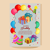 flat style happy birthday colorful card with balloon party hat