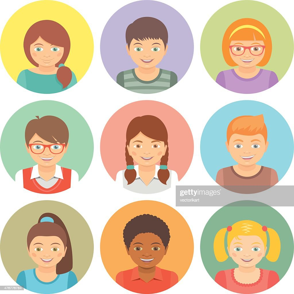 Flat Style Happy Smiling Different Races Kids Faces Vector Avatars