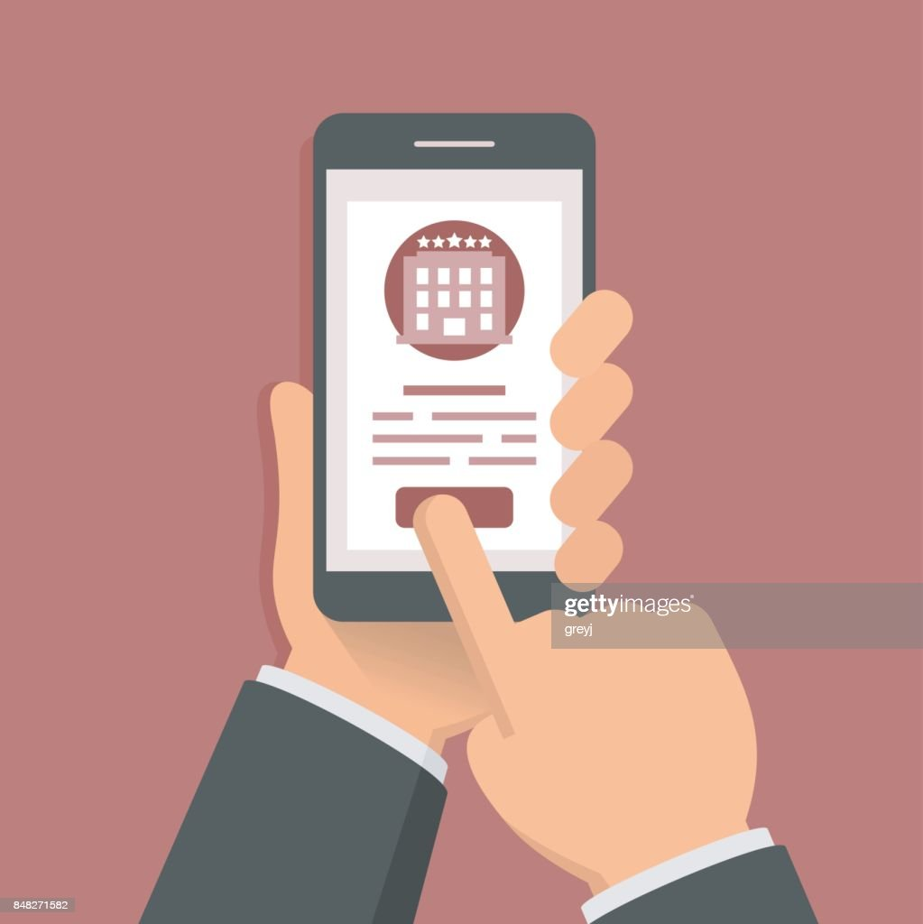 Flat style illustration concept of booking hotel via mobile app