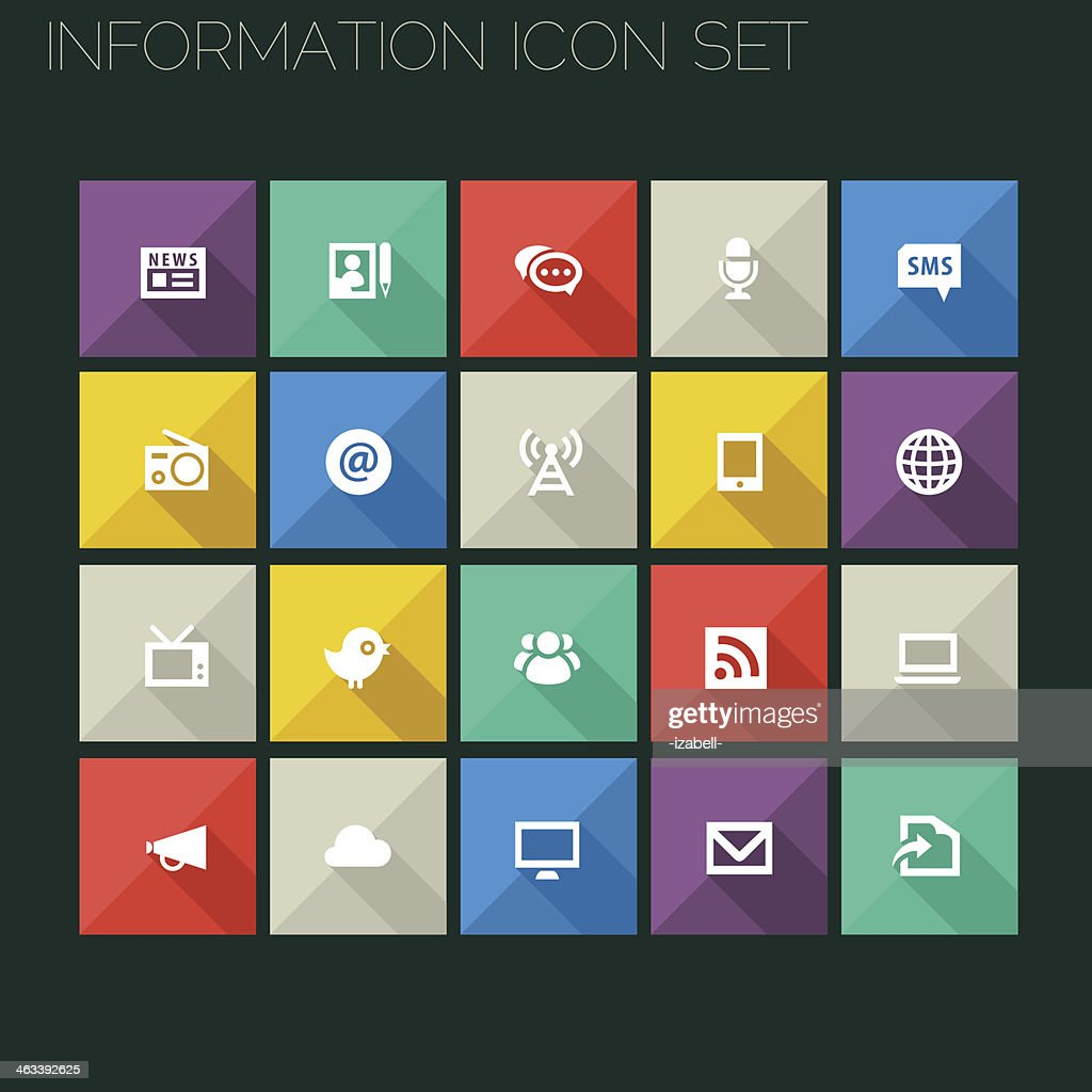Flat style information icons with long shadows
