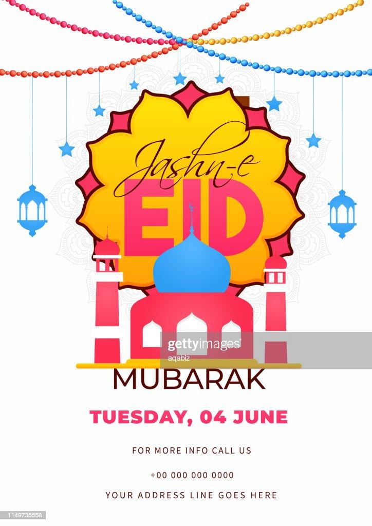 Flat style invitation card design with mosque illustration and venue details for Jashn-E-Eid Mubarak celebration.