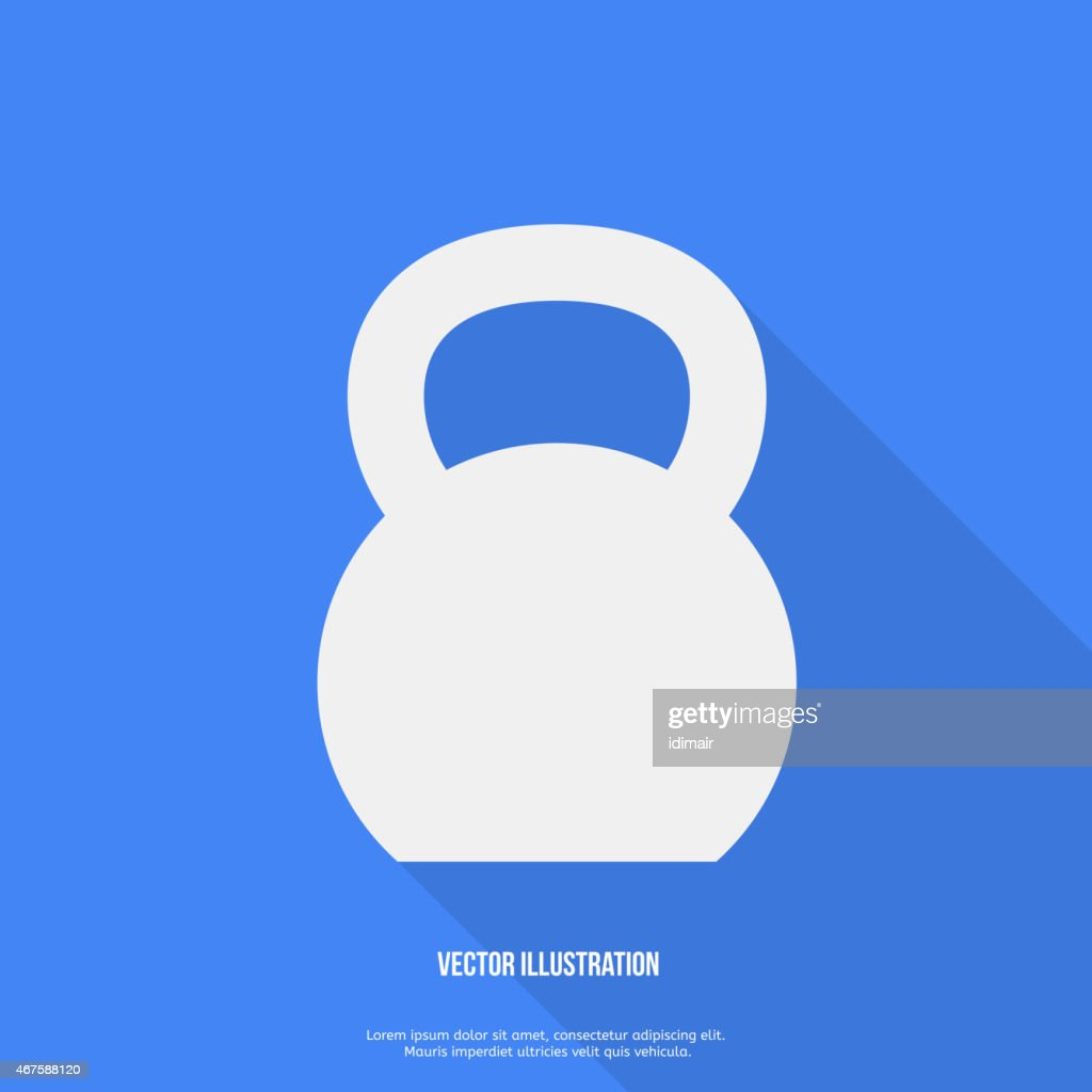 Flat Style Kettlebell Icon with Long Shadow Vector