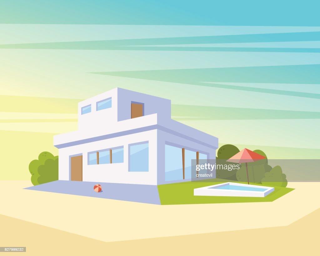 Vlakke stijl moderne architectuur huis met zwembad en groen gazon