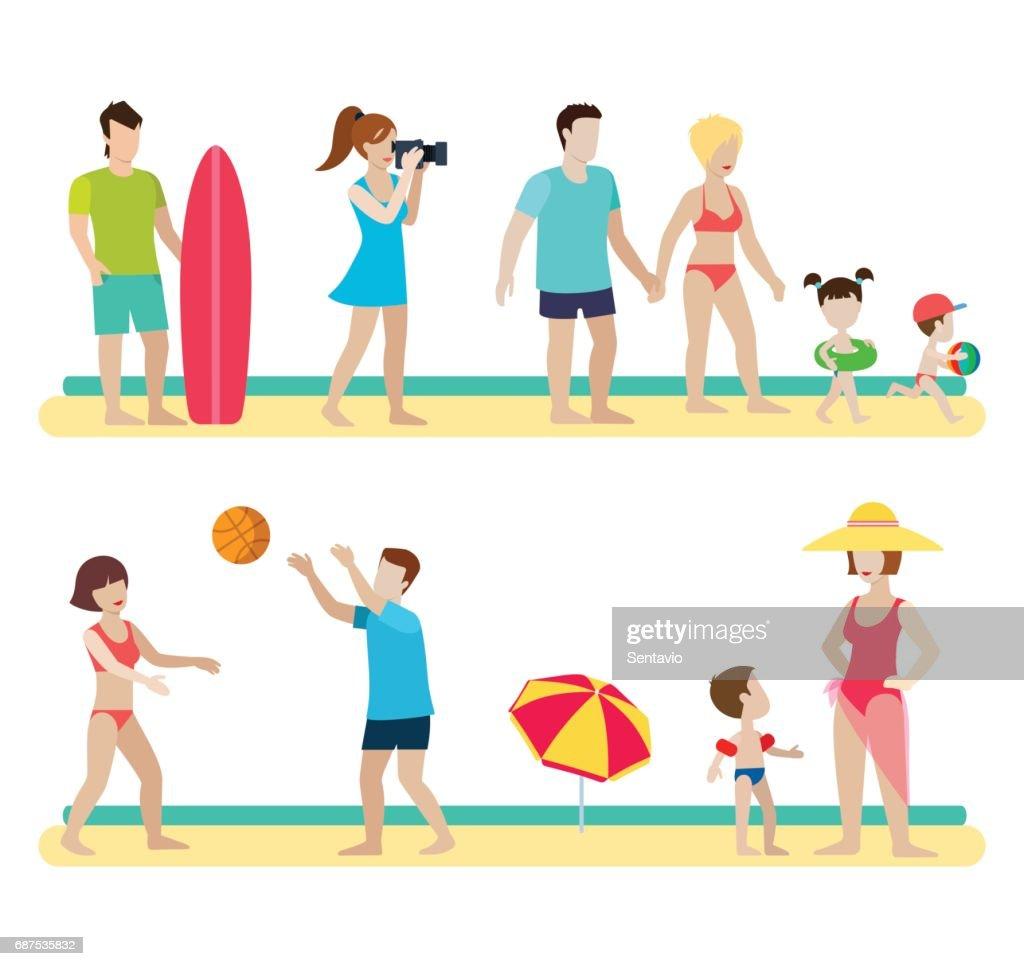 Flachen Stil Moderne Strand Menschen Familie Lifestyle Symbole ...