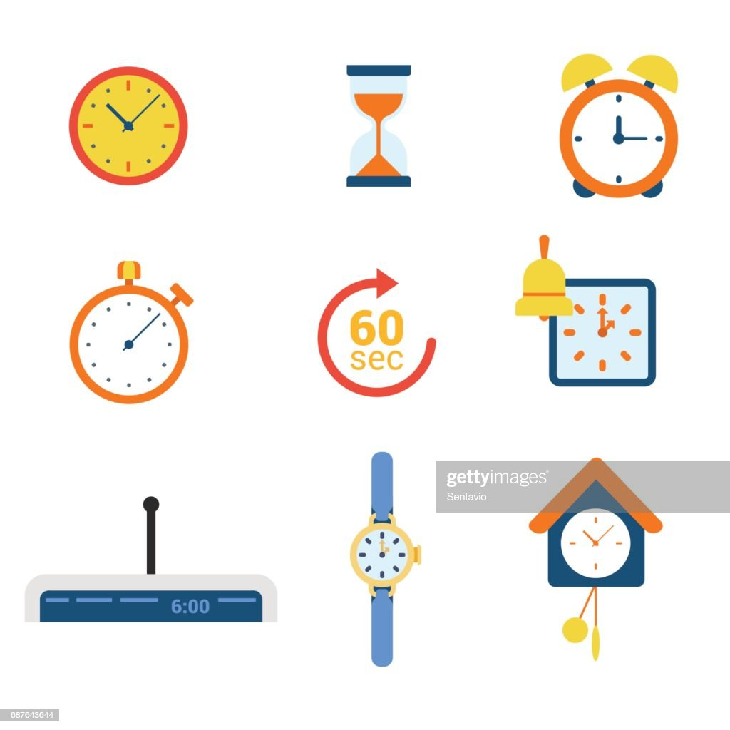 Flat style modern time clock alarm schedule notification appointment measure web app concept icon set. Timer watch mechanical electronic coo-coo hourglass stopwatch. Website icons collection.