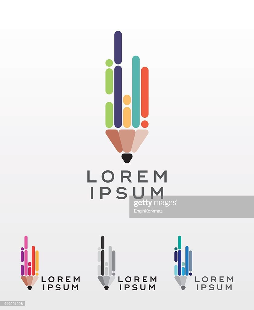 Flat style pencil icon or logo design element