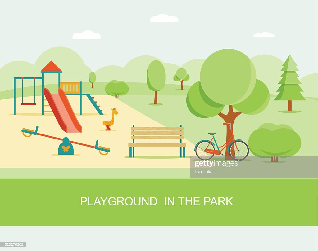 Flat style playground in park. Vector illustration.