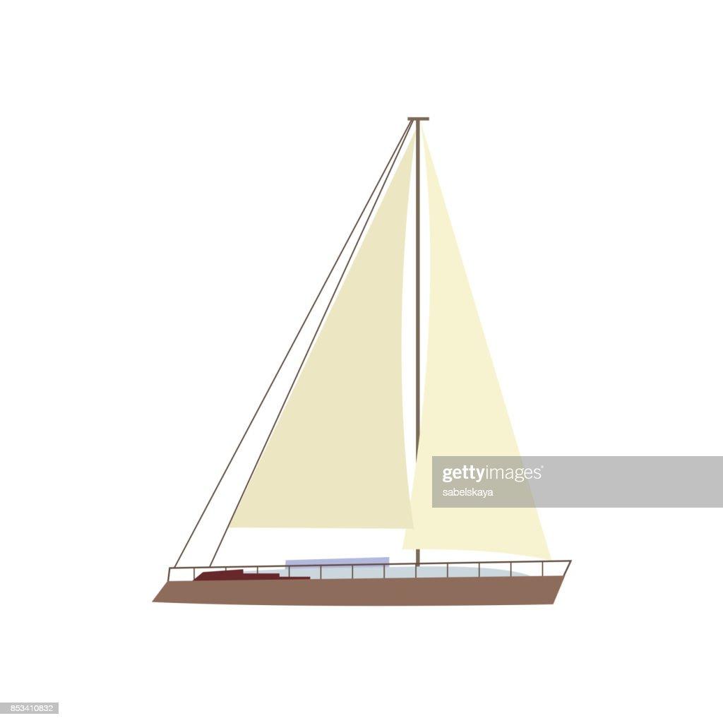 Flat style sailing ship, boat, sailboat icon