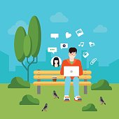 Flat style social media communication usage concept web infographics vector illustration. Young man on park outdoor bench chatting sharing posting media files.