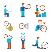 Flat style time is money business people figures infographics user interface icons set work rest grow time-management isolated vector illustration collection.